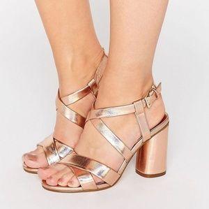 NWOT New Look Wide Fit Rose Gold Heels